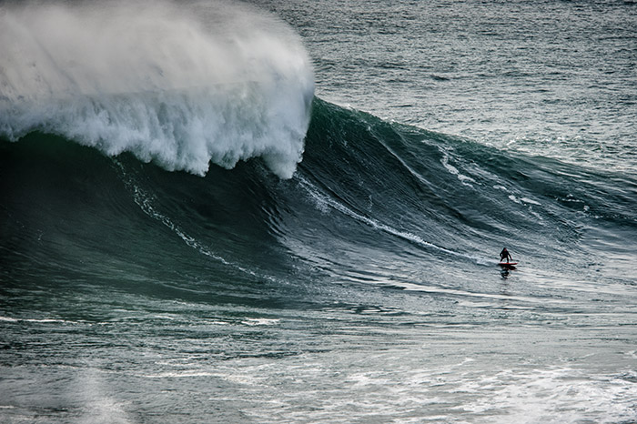 Big wave surfer in Nazare