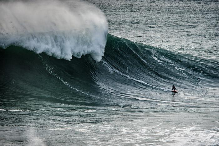 Big wave surfer in Nazare
